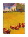 Fall Cottage and Pumpkins Premium Giclee Print