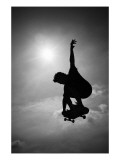 Skateboarder in Black and White Photo