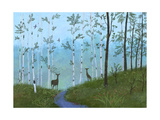 Two Deer on Forest Path Poster