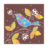 Bird with Flowers Prints
