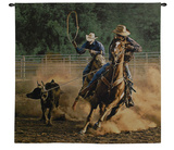 Roping on the Ranch III Wall Tapestry by Robert Duncan