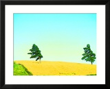 Two Trees in a Field Blowing in the Wind Kunstdruck
