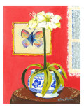 Blue Porcelain with Butterfly Affiches par Kris Taylor