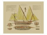 Antique Ship Plan V Poster