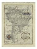 Antique Map of South America Reprodukcje autor Vision Studio