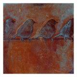 Row of Sparrows II Reproduction procédé giclée par Norman Wyatt Jr.