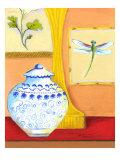 Blue Porcelain with Dragonfly Poster par Kris Taylor