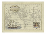 Carte du monde antique Reproduction procédé giclée