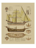 Antique Ship Plan II Kunstdrucke von  Vision Studio