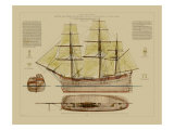 Antique Ship Plan VII Poster