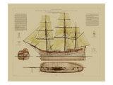 Vision Studio - Antique Ship Plan VII - Poster