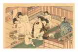 Japanese Woodblock, Public Baths Poster
