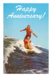 Happy Anniversary, Surfing Couple Prints