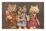 Dressed Kittens with Dolls Poster