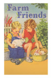 Farm Friends, Children with Rabbits Posters