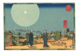 Japanese Woodblock, Street Scene at Night Prints