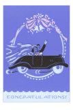 Congratulations, Bride and Groom in Car Print