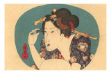 Japanese Woodblock, Lady Plucking Eyebrows Posters