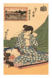 Japanese Woodblock, Woman Fixing Hair Print