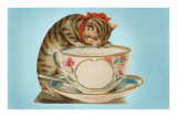 Kitten Drinking Out of Tea Cup Poster