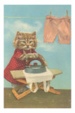 Dressed Kitten Ironing Clothes Posters