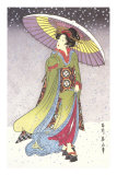 Geisha with Umbrella in Snow Prints