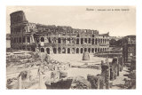 Colosseum in Rome with Meta Sudans, Ruins Posters