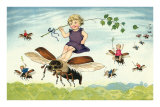 Children Riding Bees Posters