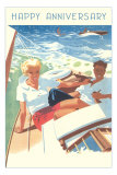 Happy Anniversary, Couple in Sailboat Posters