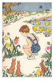 Child with Ducklings, Rabbits and Tulips Posters