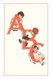 ABC, Children Climbing on Letters Posters