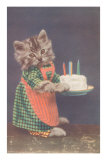 Dressed Kitten with Birthday Cake Posters