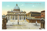 St. Peter's Square and Cathedral, Rome, Italy Posters