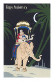Happy Anniversary, Couple Riding Elephant Posters