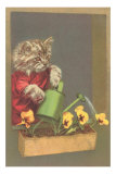Dressed Kitten Watering Pansies Print