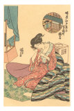 Japanese Woodblock, Woman Combing Hair Prints
