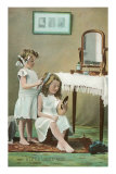 A Little Ladies&#39; Maid, Girls at Toilette Print