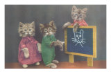 Dressed Kittens at School Posters
