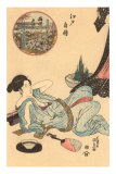 Japanese Woodblock, Semi-Recumbent Woman Poster
