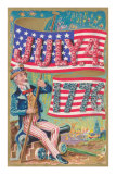 Uncle Sam with Banner and Flowers Prints