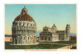 Baptistry, Cathedral and Tower of Pisa, Italy Posters