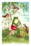 Frog Playing Flute Posters