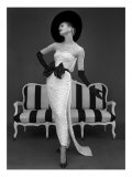 Model in John Cavanagh's Strapless Evening Gown, Spring 1957 Giclée-tryk af John French