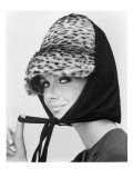 Nicole de la Marge in an Otto Lucas Jersey Scarf over an Ocelot Hat, 1964 Giclee Print by John French