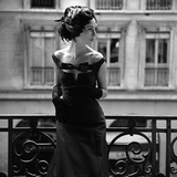 Aftonklänning och fjäderhatt, 1960-tal Gicleetryck av John French