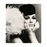 Nicole de la Marge in a Peter Shepherd Velvet Cap, 1965 Giclée-Druck von John French