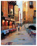 Street Café After Rain Venice Prints by Haixia Liu