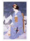 Maiko with Snow in Spring Giclee Print by Goyo Otake