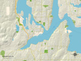 Political Map of Bremerton, WA Art