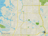 Political Map of New Port Richey, FL Prints